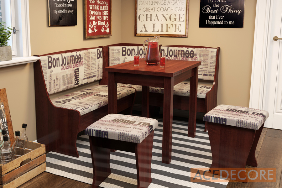 Texas Kitchen Nook Diningtable Set L Shaped Storage Bench In Cherry Upholstery Fabric With Print Kitchen Nook Furniture From Ace Decore